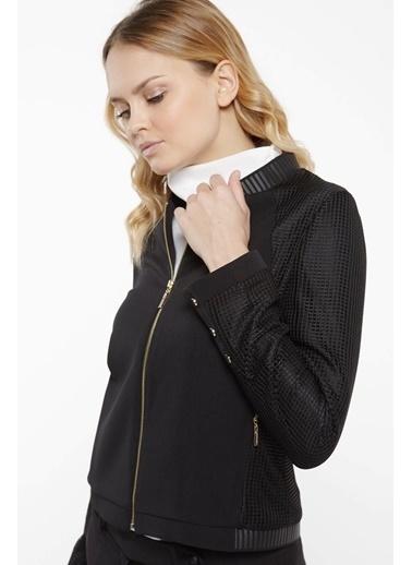 Vivencia File Kumaş Detaylı  Ceket Siyah
